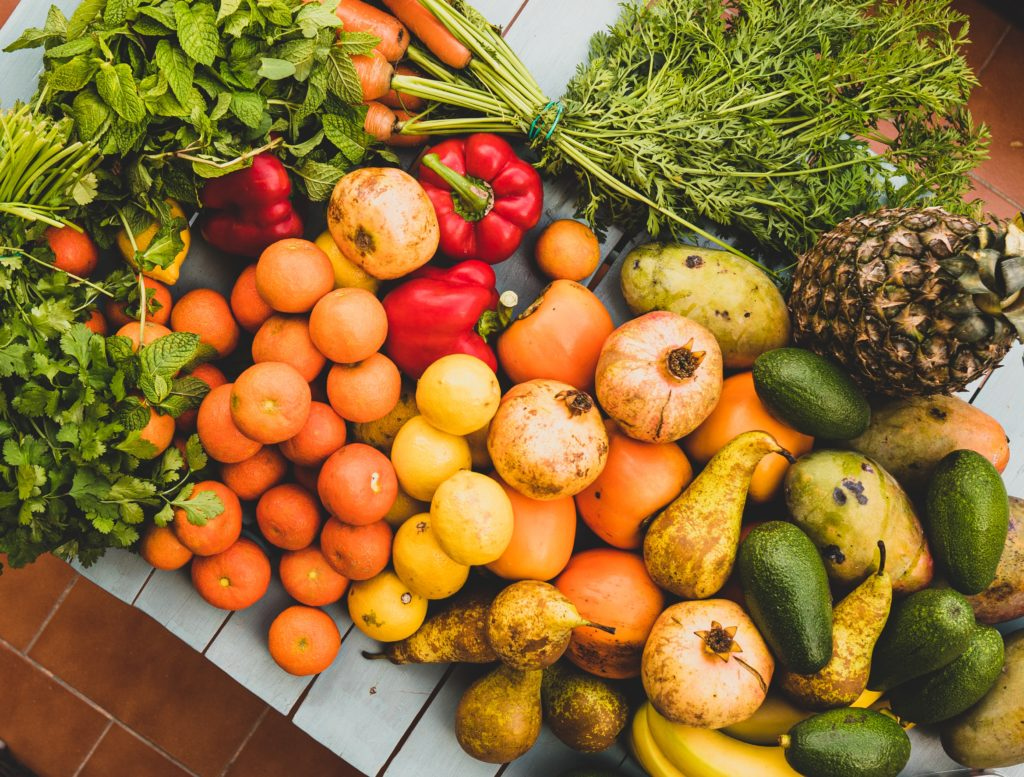 vegetables and fruits display photo